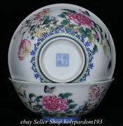 6 Marked Chinese Famille Rose Porcelain Flower Butterfly Vessel Round Bowl