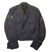 Vintage 40s United States Military Army Navy Jacket Blue Faded G-0356 Coat 39r