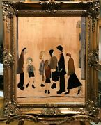 Old Master Signed L S Lowry Factory People Oil Painting 20thcentury Gold Frame