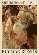 Norman Rockwell Original Freedom Of Worship Poster From 1943