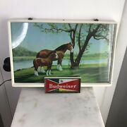 Vitg Budweiser Beer Lighted Sign Clydesdale Horse And Colt Anheuser-bush 20 X 13