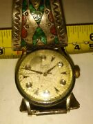 Vintage Estate Gruen Precision Mechanical Wind Watch W Turquoise Inlay Sterling