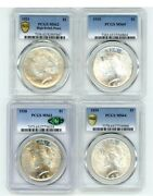 Peace Dollar High End Lot Of 4 Coins Psa Graded.