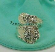 Antique 1885 Sterling Silver And Co English King Spoon Ring 8 And Pouch