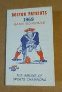 1969 Boston Patriots United Airlines Afl Football Foldout Pocket Schedule Nm