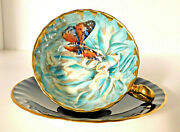 Stunning Aynsley Butterfly Chrysanthemum Cobalt Blue Cup And Saucer Mint Very Rare
