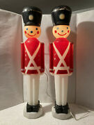 2 Vintage Empire Toy Soldierandnbsplighted Blow Mold Holiday Decoration 31 Tall Work