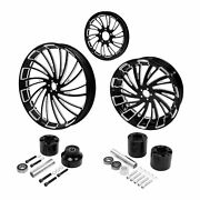 23front 18and039and039 Rear Wheels Rim Disc Hub Pulley Sprocket Fit For Harleytouring 08+