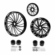 23 Front 18and039and039 Rear Wheel Rim Huband Pulley Sprocket Fit For Harley Touring 08-21