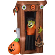 Animated Halloween Inflatable Spooky Outhouse Monster W/ Door Opening 6 Ft. Tall