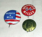 1964 Barry Goldwater/miller For President 3 Button Pin Back
