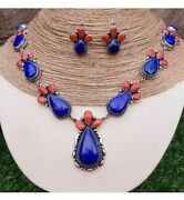 Sterling Silver Red Coral And Lapis Lariat Necklace Set Signedghassan🥰31 Inches