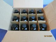 16oz Amber Boston Round Empty Glass Bottles 12 Pack With Screw Caps New Open
