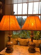 Pair Of French Antique Table Lamps With Chinese Decoration