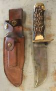 Vintage Antique Schrade Usa 171uh Uncle Henry Fixed Blade Hunting Knife W/sheath