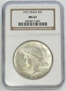 1921 Peace Silver Dollar High Relief 1 Key Coin Ngc Mint State 63