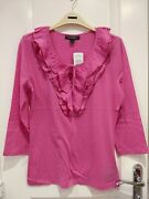 New Tags Lauren Ruffle Front Pink Top Medium Christmas Gift