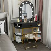 Large Vanity Table With Lighted Mirror And Drawer ,with 9 Lights And 6 Shelves