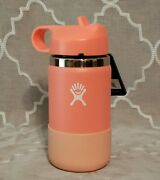 Hydro Flask Kids 12 Oz Water Bottle - Hibiscus - With Straw - Wide Mouth - New