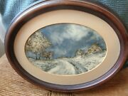 Vtg 1970and039s 2 Landscape Oil Paintings Wood Oval Frames Ted Sizemore Mid Century