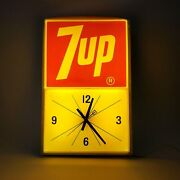Vintage 7up Lighted Electric Wall Clock With Metal Base C. 1970's