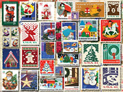 White Mountain Puzzles Christmas Stamps 1000 Piece Jigsaw Puzzle