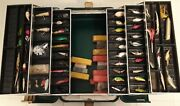 Vintage Umco 3060u Fishing Tackle Box Floats And 50 + Lures Vintage And Modern