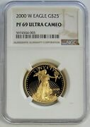 2000 W Gold American Eagle 25 1/2 Oz Proof Coin Ngc Pf 69 Ultra Cameo