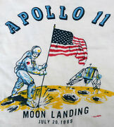 60and039s Vintage 1969 Apollo 11 Moon Landing Ringer Kids T Shirt Size 4 With Allison