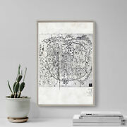 Vintage Map Of Seoul, South Korea Old Map 2 Print Poster Gift Old Ancient