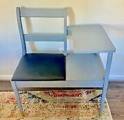 Antique Vintage Wood Telephone Table Gossip Bench Chair