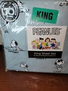 New Berkshire Peanuts Snoopy And Woodstock Emotions Blue King Sheet Set Adorable