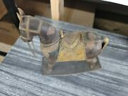 Beautiful Antique Wood Rocking Horse With Brass Cooper Saddle Design