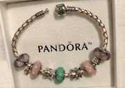 Authentic Pandora Bracelet - 5 Murano Charms 4 14k And Silver Charms