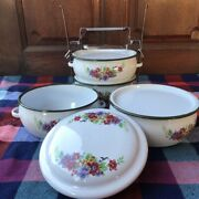 5 Set Daisy Lunch Box Vintage Stainless Steel Bento Enamel Tiffin Containers