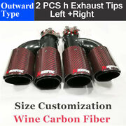 Carbon Fiber Red Black Akrapovic Exhaust Tips Dual Pipes In76mm Out89mm Custom