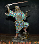 216 Alte China Cloisonne Emaille Bronze Folk Zhong Kui Ghostbusters Statue