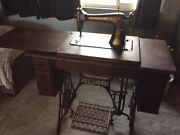 Antique Singer Sewing Machine In Cabinet 1916 7-drawer Table Original Cast Iron