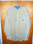 Menand039s Chaps Yellow Striped Button Front Shirt L Large