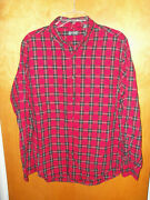 Menand039s Chaps Red Striped Button Front Shirt L Large