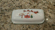 Rare - Snow Village Covered Butter Dish By Pfaltzgraff - Never Used