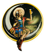 Miller High Life Beer Girl On The Moon With Bottle Tin Metal Bar Sign Room