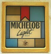 Michelob Light Beer Faux Stained Glass Bar Pub Sign Vintage Plastic 17x16