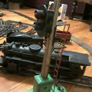 Vintage Marx Train Set And Extra,tower,station,crossing Lights,trans.,light Tower
