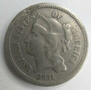 1871 Three Cent Nickel 3cn Trime Very Fine Vf Or Extremely Fine Xf