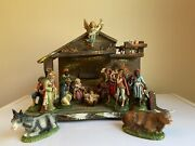 Vintage Fontanini 1960andrsquos Italy - Nativity Set- 5andrdquo Figures And Manger Paper Mache