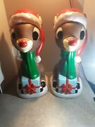 Lot Of 2 New 24 Lighted Rudolph Reindeer Blow Mold Yard Christmas Decoration