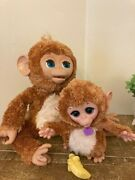 Furreal Friends Large Cuddles My Giggly Interactive Monkey W/ Baby And Bottle