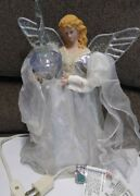 Vintage Angel Christmas Tree Topper Bubble Light Silver About 10 Pearls