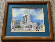 Vintage Old Cathedral St. Louis Mixed Media Illustration Art Wall Hanging Signed